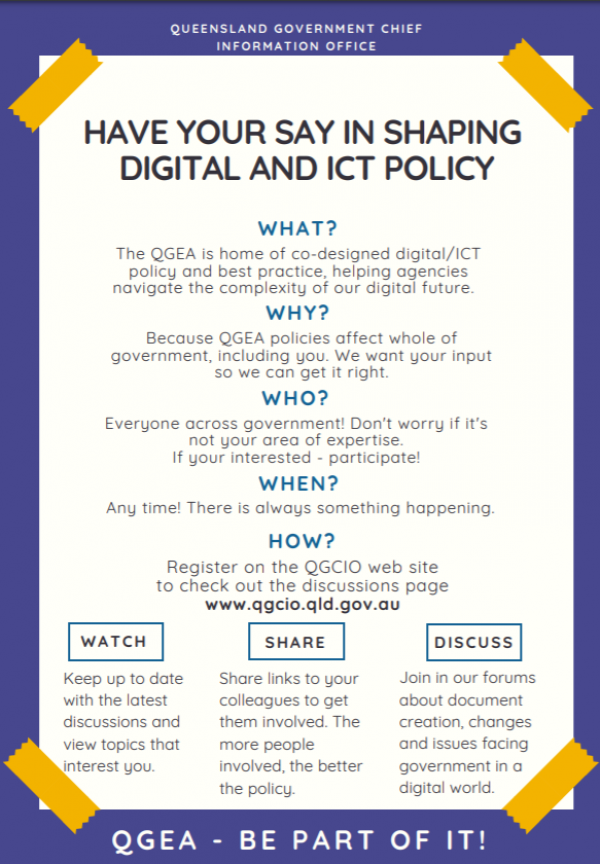 Printable A4 QGEA Have your say